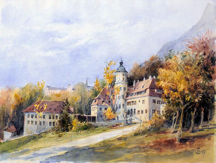 Aquarell von StD a.D. Georg Beyer, Kunsterzieher am Landschulheim 1959 - 1963